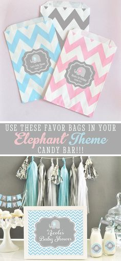 Elephant Baby Shower Favor Bags or for a 1st birthday by Mod Party