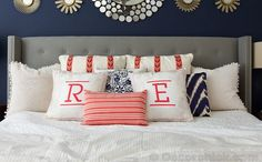 Bring new life to your home with the addition of vibrant and personalized pillows. #homedecor