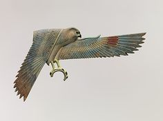 Inlay Depicting a Falcon with Spread Wings, Egypt, Late period-Ptolemaic period, 4th century BC, faience, polychrome