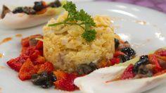 Saber Cocinar - Bacalao dorado con ensalada de pimientos al ajillo