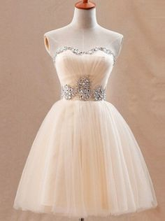 Gorgeous Ball Gown Sweetheart Mini Champagne Prom Dress With Beading - Dresstells.com