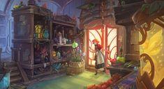 Magic shop by Veronika Firsova. Boutique San Francisco, Art Challenge, Fantasy Kunst, Fantasy Art, Fantasy Rooms, Dark Fantasy, Final Fantasy, Witch Shop, Gif Disney