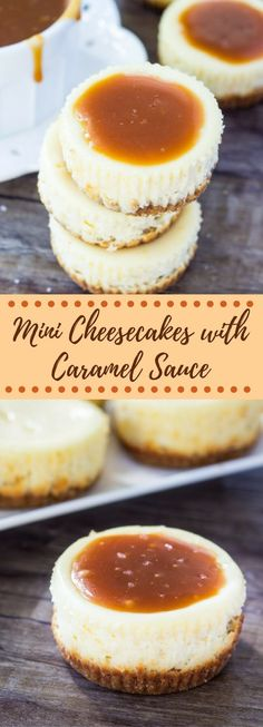 These mini cheesecakes with salted caramel sauce have a crunchy graham cracker crust, creamy cheesecake layer and are are topped with salted caramel sauce. A total crowd pleaser! via @ohsweetbasil