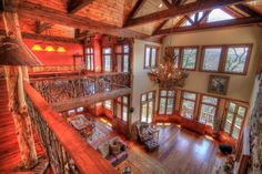 Main Living Room from Upstairs 6 bedrooms in mountain of North Carolina
