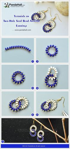 Beaded Jewelry How to Make Two-Hole Seed Bead Annular Earrings The pair of earrings is made of seed beads. The whole pattern is two delicate annular shapes. The distinctive structure makes the earrings unique! Beaded Earrings Patterns, Bracelet Patterns, Beading Patterns, Seed Bead Patterns, Bead Jewellery, Seed Bead Jewelry, Seed Beads, Jewellery Shops, Jewellery Storage