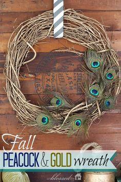 Fall Peacock & Gold Wreath   MyBlessedLife.net