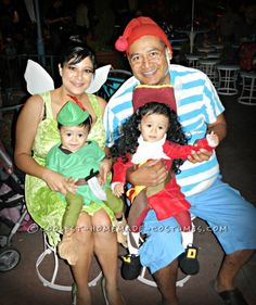 Cool Captain Hook and Peter Pan Twin Toddler Costumes and Daddy Mr. Smee...