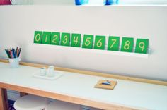 Cute way to display numbers.  Could also hang on a velcro strip so children can remove them, rearrange them, and trace the numbers.