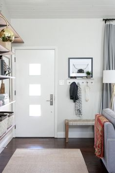 Love the way she made an entryway when she didn't have one! The before and afters on this house are awesome!