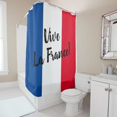 Shop Vive La France French flag custom Shower Curtain created by iprint. Funny Shower Curtains, Custom Shower Curtains, Bathroom Curtains, France Country, Trendy Home Decor, Powder Room, Flag, Tub, French