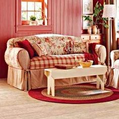 Red And Yellow French Country Sure Fit Shabby Fl Toile Plaid Sofa Slipcover