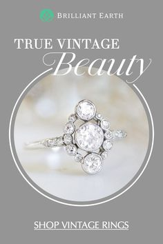 As timeless and unique as your love, Brilliant Earth's collection of vintage and antique rings originates from romantic eras of the past. Our one-of-a-kind jewelry is a distinctive choice to be treasured forever. Art Deco Jewelry, Jewelry Box, Jewelry Rings, Jewelery, Fine Jewelry, Jewelry Design, Antique Engagement Rings, Antique Rings, Antique Jewelry