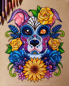 Etsy | Instagram | Facebook | YouTube | The commissioner wanted to have her pup done up sugar skull style with some wildflowers~ __________________________________ Prismacolor colored p...