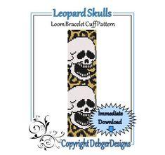 Leopard Skulls  Loom Bracelet Cuff Pattern by LoomTomb on Etsy, $4.50