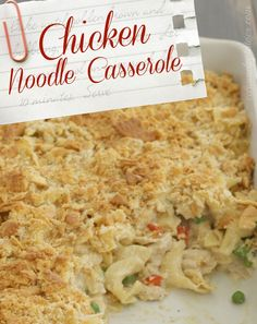 Chicken Noodle Casserole - creamy home-style goodness! No cans involved- Yummy! Chicken Noodle Casserole, Casserole Dishes, Casserole Recipes, Turkey Recipes, Chicken Recipes, Chicken Meals, Pasta Recipes, All You Need Is, Just In Case