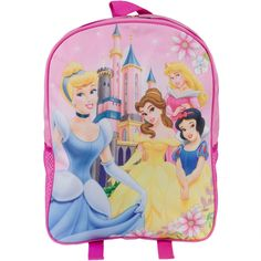 Cinderella, Belle, Aurora, and Snow White pose in the castle courtyard on this kid's backpack from Disney Princesses. Made from heavy polyester canvas with dual-zipper closure, padded adjustable back straps, and mesh side pouches. Great for school, play, camp, and more. Height: 15 inches Width: 11.5 inches Depth: 4.5 inches