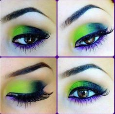 Would you ever try this Green & Purple Smokey eye makeup? Green and purple eyeshadow on these brown #deepsetEyes with black eyeliner and a set of #FalseLashes.