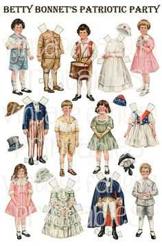 Vintage Christmas, Halloween and Patriotic Old Fashioned Paper Dolls  Digital Download for Altered Art, Kids Crafts, and Collage. $6.00, via Etsy.