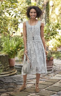 Lasting Love Dress - sleeveless dress with embroidered mesh.