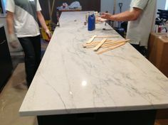 Stripping and Sealing a Quartzite Countertop (White Macauba) - Kitchens Forum - GardenWeb Kitchen Redo, Kitchen And Bath, Kitchen Design, Kitchen Ideas, Kitchen White, Hidden Kitchen, Kitchen Tips, Kitchen Storage, Kitchen Countertop Materials