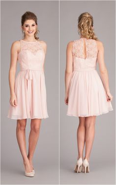 A lace and chiffon bridesmaid dress that has an illusion lace back just as cute as its front.