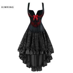 #FASHION #NEW Kimring Women Steampunk Gothic Overbust Waist Trainer Corset Dress Vintage Bustier Top Corset Dress Corset and Bustiers
