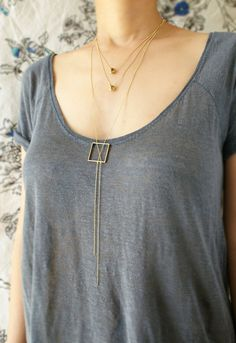 Geometric Y necklace statement necklace square by SoraDesignsBlack