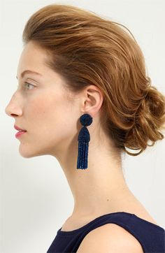 navy beaded earrings