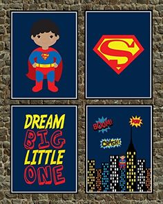 African American Superhero Set of 4 Wall Art Prints  Dream Big Little One  Nursery Playroom or Kids Room Decor >>> Click image to review more details.