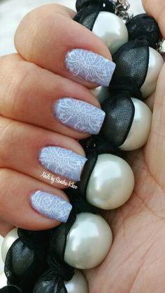 Lavender lace manicure