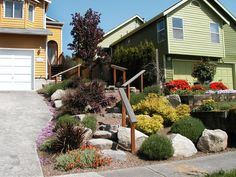 Large, decorative boulders, stairs and sun-loving plants guide visitors to the front door. Designer's tip: Coordinate plant material with the color of your home for a finished look.