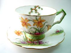 Antique Aynsley white and mint green tea cup and saucer, Fine Bone China, Yellow Daffodils, 1940s