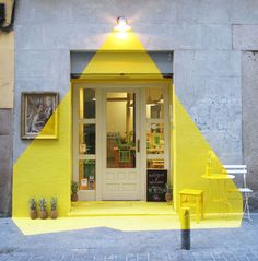 cool facade made with yellow tape #decor #yellow #facade #architecture