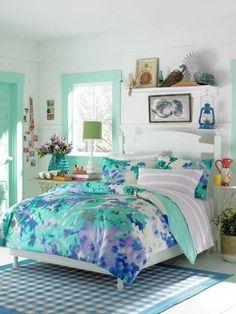 outstanding girls bedrooms | ... Teenage Girl Bedroom Blue Flower Themes Teenage Girl Bedroom Themes