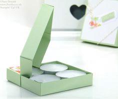 POOTLES Stampin Up UK SPRINGWATCH Diamond Opening Tea Light Box Tutorial