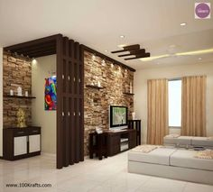 Top 100 stone wall decorating ideas for living room interior design 2020 Diet Exercise Healthy Life Video Pooja Room Design, House Design, Room Design, Pooja Rooms, Room Door Design, Pooja Room Door Design, Living Room Design Modern, Living Room Designs, Modern Living Room Wall