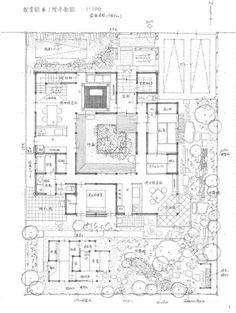 L字平面の親世帯と子世帯のすまいがカギカッコのように中庭を内包しながら 対峙する二世帯住居の提案プラン。 親世帯は平屋、客間としての和室6...