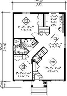 Bungalow Style House Plan - 2 Beds 1 Baths 884 Sq/Ft Plan #25-194 Floor Plan - Main Floor Plan - Houseplans.com