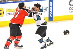 Worcester Sharks forward Jimmy Bonneau fights with Portland Pirates defenseman Mark Louis in the first period (Oct. 20, 2013).