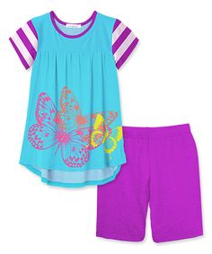 Take a look at this Blue & Purple Butterfly Hi-Low Tunic & Shorts - Toddler & Girls today!