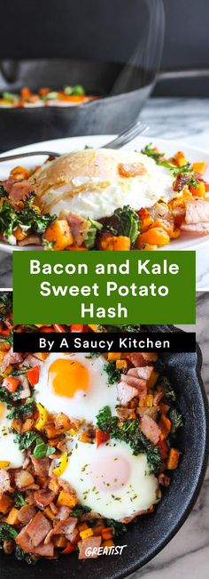 4. Bacon and Kale Sweet Potato Hash #healthy #sweetpotato #hash #recipes https://greatist.com/eat/sweet-potato-hash-recipes-for-breakfast-or-dinner