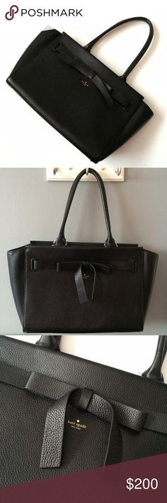 """✨FINAL PRICE✨Kate Spade large handbag 10"""" wide 18"""" long and 9"""" drop on handles. Pure black leather bag with gold hardware. Has had minimal use. No stains (interior or exterior). Interior has 2 open pockets and 1 zip closure pocket. Beautiful large leather bow detail on exterior. No cracking to handles. All signs of use can be seen in pics (please refer to all pics). Great spacious bag. Care card and original tag included. Will consider offers! kate spade Bags"""