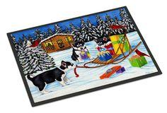Christmas Mush Siberian Husky Indoor or Outdoor Mat 18x27 AMB1318MAT
