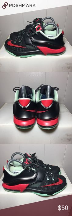 """Nike KD VII """"Bad Apple Big"""" -size:5.5y -colorway:ACTION RED/BLACK-MEDIUM MINT -stylecode:669942-600 -Release Date:2014 -conditions:great condition  -No box⬅️ -100% Authentic 👈🏽👈🏽👈🏽 -🚫no trades🚫 -sold as is!!!👈🏽 👉🏽👉🏽please look at all pictures and ask questions before buying shoes ⬅️👈🏽 -irrelevant comments will get you blocked Nike Shoes Sneakers"""
