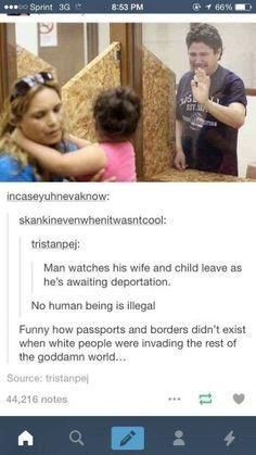 Un hombre despidiendose de su hija y esposa esperando ser deportado Ningun humano es ilegal Que chistoso que pasaportes y fronteras no exicistian cuando Los americanos invadian el resto del puto mundo :( Like √ comenta √ comparte √