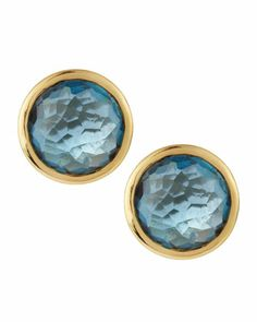 18k Gold Lollipop Stud Earrings, London Blue Topaz by Ippolita at Neiman Marcus Last Call.
