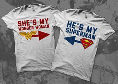 Superman Wonder Woman Love it! Cute Couple Shirts, Couple Tees, Matching Couple Shirts, Matching Couples, Matching Outfits, Cute Couples, Couple Stuff, Cheer Shirts, Party Shirts