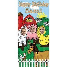 The Farm Photo Stand In is perfect opportunity to take silly pictures of all your Farm Party guests. This farm photo prop is approximately 3' wide x 6' high and features a barnyard filled with chickens, cows, a horse, a sheep, a pig and a duck.
