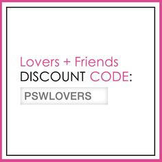 "From March 20 to April 17, enter ""PSWLOVERS"" at checkout for a 25% discount on full-price merchandise."