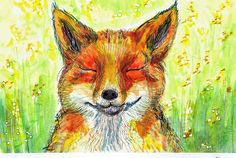 Peace. / Namaste. / Happiness and Joy. / The 7th in a series of Zen Foxes, Sven is blissful in the sunbeams, enjoying life and manifesting a peaceful meadow morning. / Original waterclor, pen and ink on 140# Arches hot press watercolor paper. • Buy this artwork on apparel, phone cases, home decor, and more.